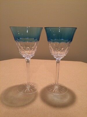 Two Waterford Glendora Goblets Blue - MIB