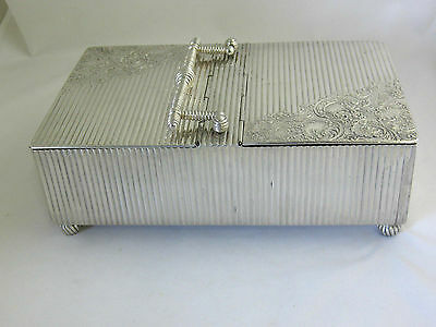Antique Silver Plate--Cigar & Cigarette Box