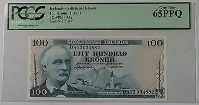 L.1961 Iceland Sedlabanki Islands 100 Kronur Note SCWPM# 44a PCGS 65 PPQ Gem New