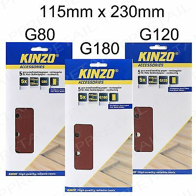 KINZO 115mm x 230mm +VELCRO BACKING+ SANDING PADS Electric Sander COARSE - FINE