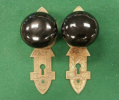 PAIR Antique Black Porcelain Door Knob w/ back plate One-Sided Pull Sliding Door