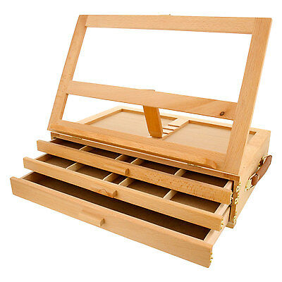 Artist Wood Tabletop Portable 3-Drawer Desk Easel with 3 Storage Drawers
