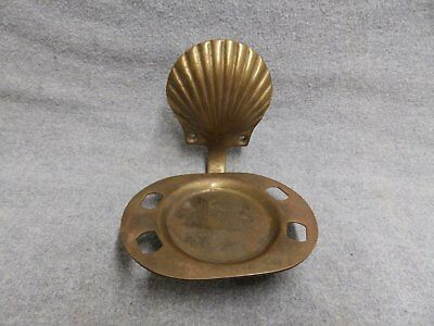 Vintage Brass Decorative Cup Toothbrush Holder Old Bathroom Seashell 5316-15