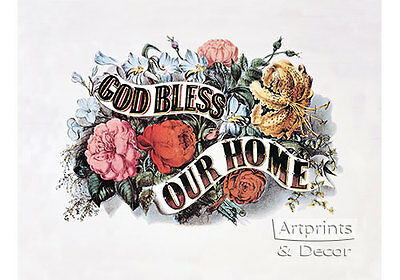 God Bless Our Home by Currier & Ives (Art Print of Vintage Art)