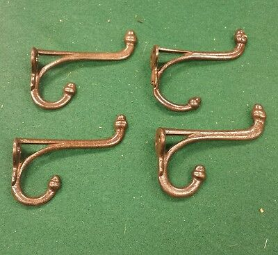 4 matching vintage antique  Cast Iron Double Coat  hooks acorn tops