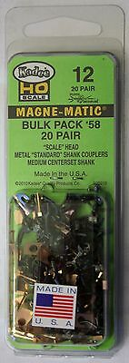 HO Scale - KADEE 12 - #58 MAGNE-MATIC Bulk Pack - 20 Pair Scale Head Couplers