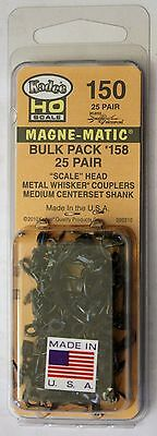 HO Scale - KADEE 150 - #158 MAGNE-MATIC Bulk Pack - 25 Pair Scale Head Couplers