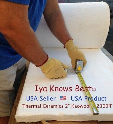 "Kaowool 2""x12""x12"" Ceramic Fiber Insulation Blanket 8# Thermal Ceramics 2300F"