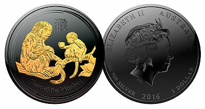 2016 Year of the Monkey BLACK RUTHENIUM & 24K GOLD 999 Silver 1oz Australia Coin