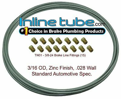 OEM Zinc Steel Brake Line Tubing Kit 3/16 OD Coil Roll & 15 Tube Nut Fittings