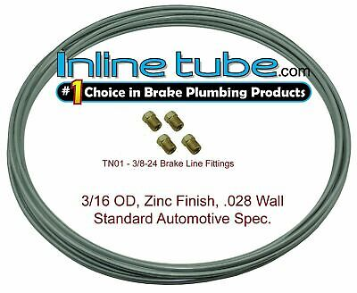 OEM Zinc Steel Brake Line Tubing Kit 3/16 OD Coil Roll & 4 Tube Nut Fittings