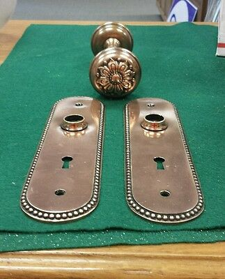 Vintage Brass Bronze  Decorative Floral Door  Knob Set  Oval Backplates Spindle