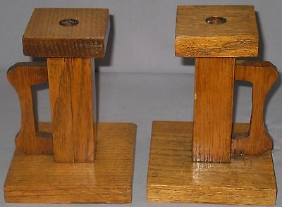 Antique Arts Crafts Style Solid Oak Candle Stands Carved Handles Square Base