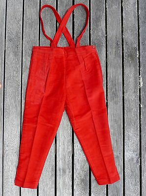 Vintage retro true 50s age 3 unused childrens girls red velvet pants overalls