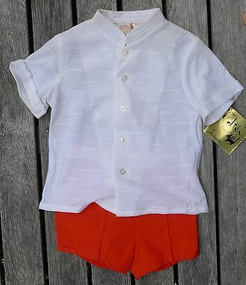 Vintage retro true 70s 0 unused childrens baby boys suit shorts red white NOS
