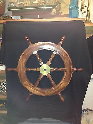 "Vintage 30 1/4"" Brass & Wooden Ships Wheel"
