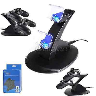 LED Dual Charger Dock Station USB Charging Stand For PS4 PlayStation Controller