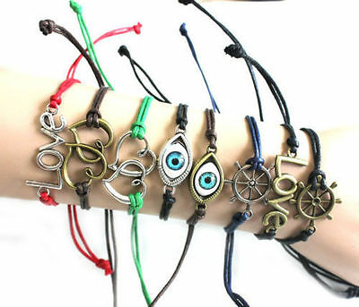 Contracted Double heart Love Evil Eye eyes hand-woven Bracelets Unisex Craft DIY