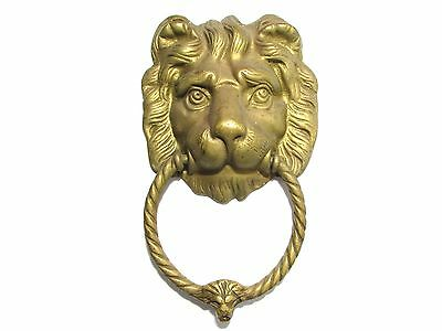 Face Lion VINTAGE ANTIQUE STYLE HAND MADE SOLID BRASS LION DOOR HANDLE KNOCKER