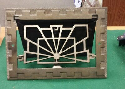 Fancy Vintage Cast Iron floor wall heat grate no louvers Art Deco pattern (#2)