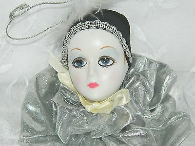 Victorian Harlequin Porcelain Lady Victorian Silver Ruffle Christmas Ornament