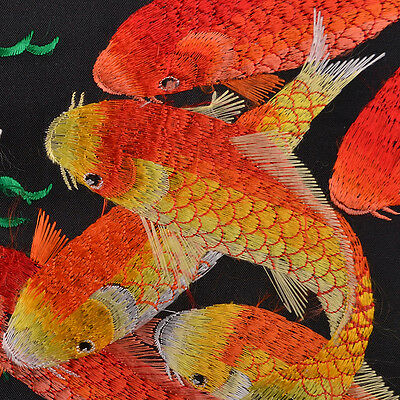 "18"" Brocaded Silk Embroidery Piece Japanese Eight Koi Fish"