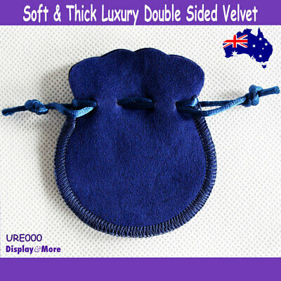 Luxury 100 DOUBLE Sided Velvet Jewelry Gift Pouch Bag-7x8cm-Blue | AUSSIE Seller