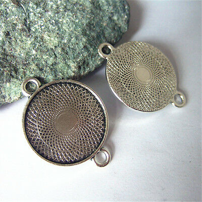 Silver Round Charm Pendant or Bracelet Connector Bezel Trays Blanks DIY Findings