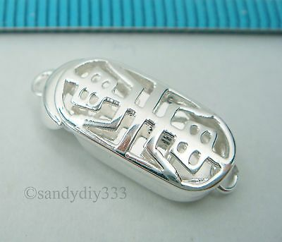 1x BRIGHT STERLING SILVER CLASSIC CHINESE 1-strand BOX CLASP N223