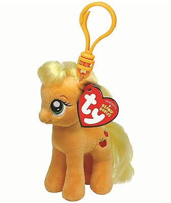 "My Little Pony - 5"" TY Beanie Applejack Key clip - Collectable Soft Plush Toy"