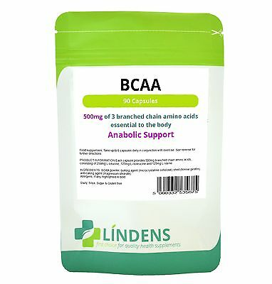 BCAA Branched Chain Amino Acids 500mg 90 capsules; muscle, anabolic [5675]