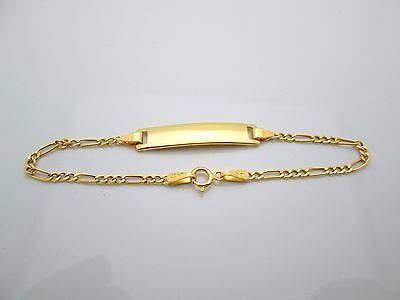 Babies Toddlers 10k Yellow Gold Figaro link ID Bracelet  5.5 in