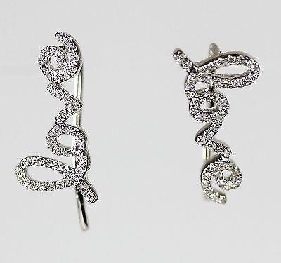 """Love"" Diamond  Ear Climber (Dia. 0.21cts ) in 14k Rose or Yellow  Gold"