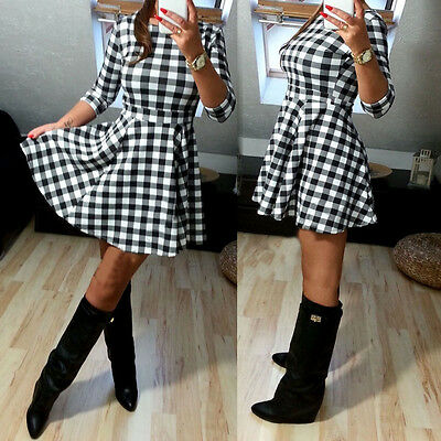 New Sexy Women Casual Long Sleeve Evening Party Cocktail checks Short Mini Dress