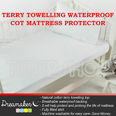New Terry Towelling Waterproof Cot Mattress Protector Boor Standard Cotton Soft