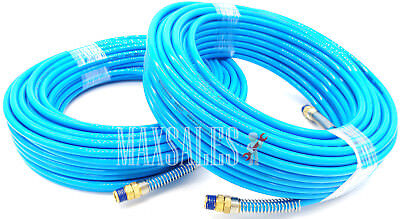 "(Qty-2) 100ft x 1/4"" NPT Air Compressor PU Hose Roofing Framing carpentry Hose"