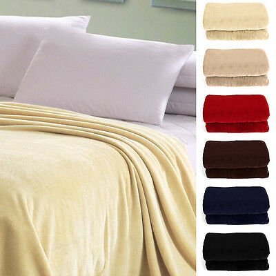 Luxury Large Super Soft Plain Coral Faux Fur Blanket Double Bed Sofa Throw