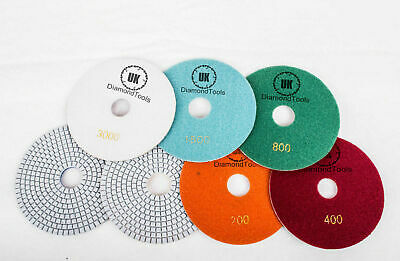 """Wet or Dry 6"""" inch 150mm Diamond Polishing Pads Granite Marble Individual Grits"""