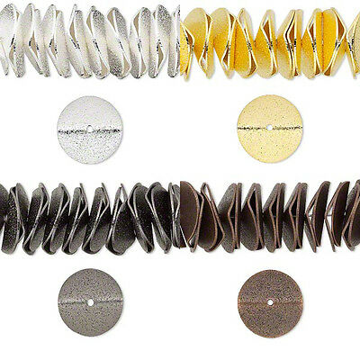 Lot of 10 Big 17mm x 3mm Wavy Rondelle Disc Beads Plated Over Brass Base Metal