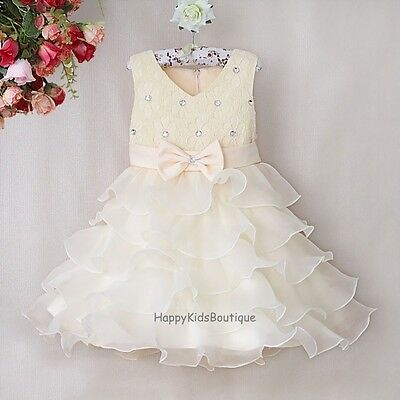 Girls Flower Girl Dress Birthday Party Formal Christening Wedding Bridesmaid