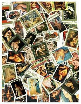 Nude Art on Stamps Collection - 200 Different Stamps