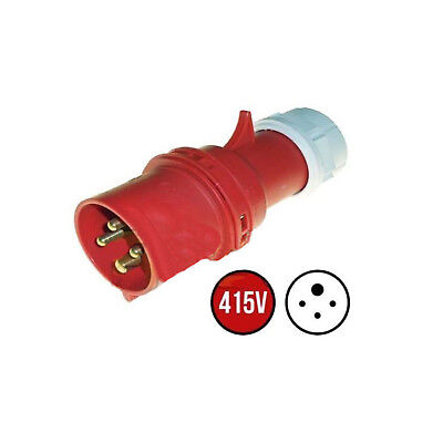 16 Amp 4 Pin Plug 380 - 415 Volt 3P+E Weatherproof to IP44 16A 3 Phase 415v