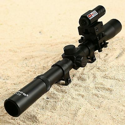 Tactical 4x20 Air Rifle Optic Scope + Red Dot Laser Sight + 20mm Rail