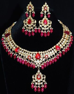 Estate Huge Carved Ruby Pearl Diamond Enamel 22K 18K Gold Necklace Earring Set