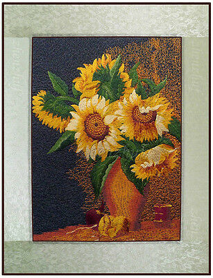 """New Finished complete Embroidery Needlepoint""""SUNFLOWERS""""home decor gifts"""