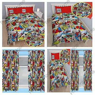 """Marvel Comics Justice Duvet Cover Sets & Matching 54"""" & 72"""" Curtains"""