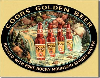 Coors Golden Rocky Mountain Spring Water Waterfall Tin Metal Beer Bar Sign NEW