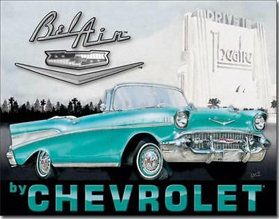 1957 Chevrolet Chevy Bel Air Convertible Nostalgic Drive-In Tin Metal Sign
