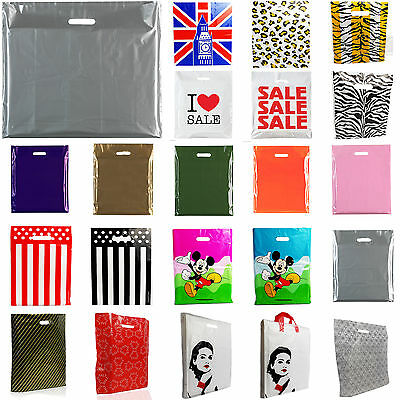Plastic Carrier Bags Strong Shopping Supermarket Shop Retail Shop Bag[All Sizes]
