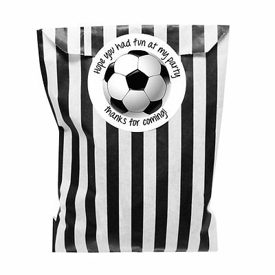 Black & white paper party bags with 60 mm football party stickers - 24 of each